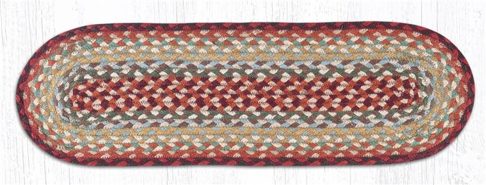 """Thistle Green/Country Red Oval Braided Stair Tread 27""""x8.25"""" Thumbnail"""