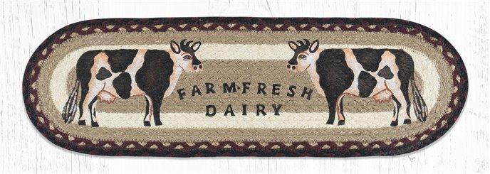 "Farmhouse Cow Oval Braided Stair Tread 27""x8.25"" Thumbnail"