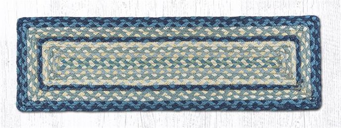 """Breezy Blue/Taupe/Ivory Rectangle Braided Stair Tread 27""""x8.25"""" Thumbnail"""