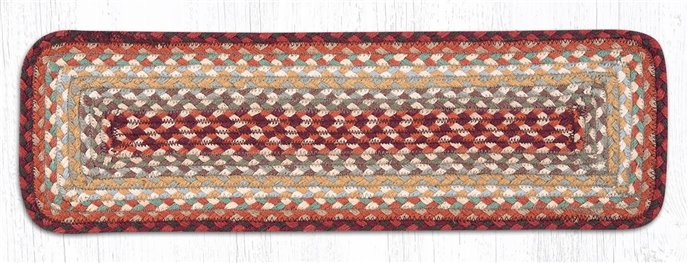 """Thistle Green/Country Red Rectangle Braided Stair Tread 27""""x8.25"""" Thumbnail"""
