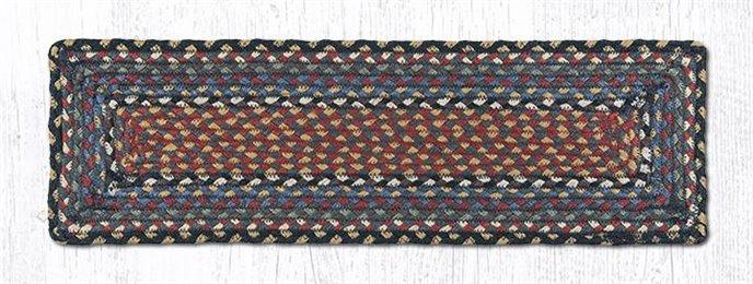 "Burgundy/Blue/Gray Rectangle Braided Stair Tread 27""x8.25"" Thumbnail"