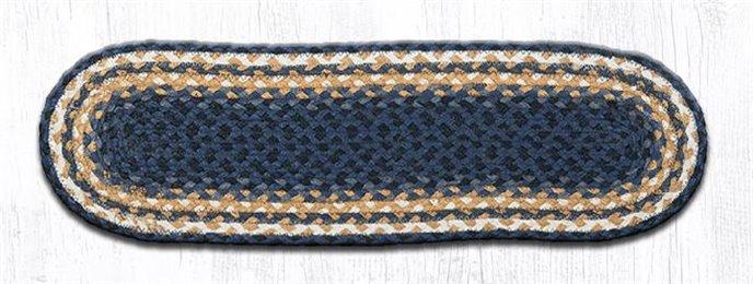 "Lt. Blue/Dk. Blue/Mustard Oval Braided Stair Tread 27""x8.25"" Thumbnail"