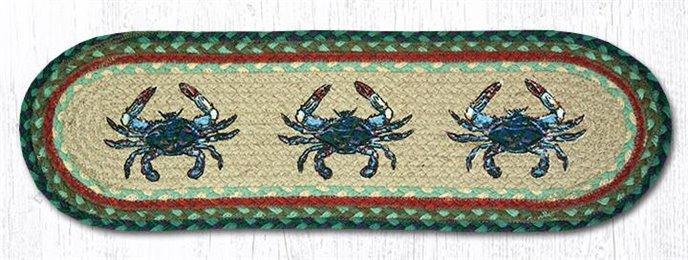 """Blue Crab Oval Braided Stair Tread 27""""x8.25"""" Thumbnail"""