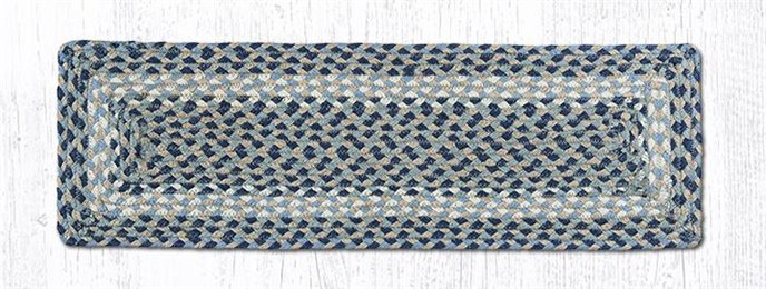 "Blue/Natural Rectangle Braided Stair Tread 27""x8.25"" Thumbnail"