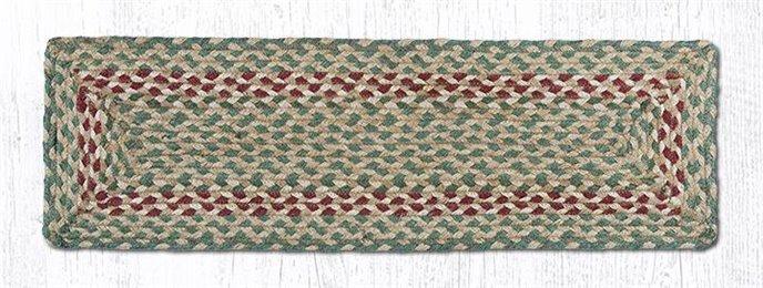 "Green/Burgundy Rectangle Braided Stair Tread 27""x8.25"" Thumbnail"