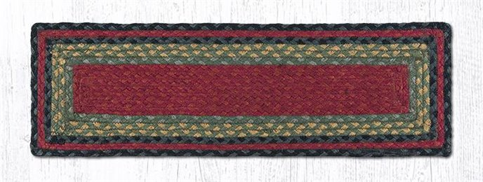 """Burgundy/Olive/Charcoal Rectangle Braided Stair Tread 27""""x8.25"""" Thumbnail"""