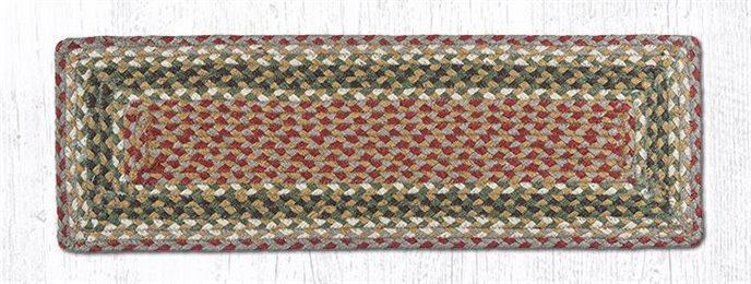 """Olive/Burgundy/Gray Rectangle Braided Stair Tread 27""""x8.25"""" Thumbnail"""