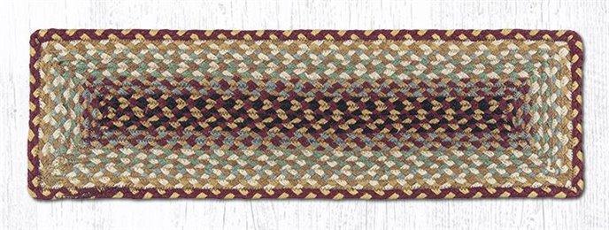 "Burgundy/Gray/Cream/Mustard Rectangle Braided Stair Tread 27""x8.25"" Thumbnail"