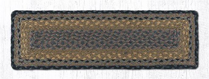 "Brown/Black/Charcoal Rectangle Braided Stair Tread 27""x8.25"" Thumbnail"