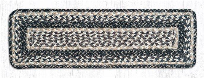 """Black + Tan Rectangle Braided Stair Tread 27""""x8.25"""" Thumbnail"""
