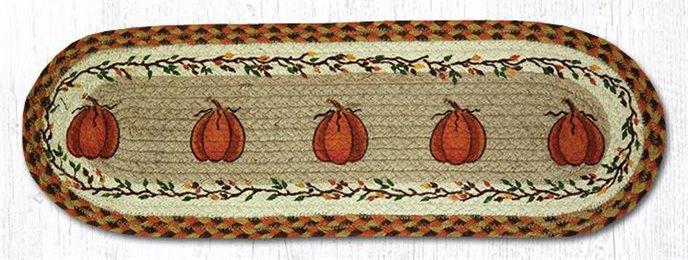 "Harvest Pumpkin Oval Braided Stair Tread 27""x8.25"" Thumbnail"