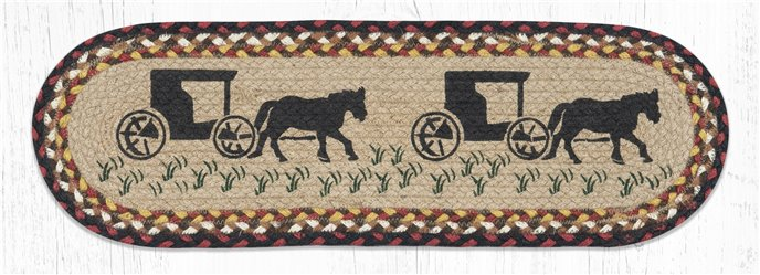 """Amish Buggy Oval Braided Stair Tread 27""""x8.25"""" Thumbnail"""