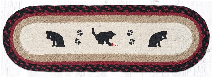 """Cat and Kitten Oval Braided Stair Tread 27""""x8.25"""" Thumbnail"""