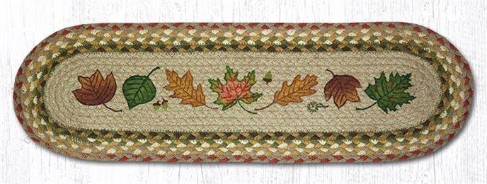 "Autumn Leaves Oval Braided Stair Tread 27""x8.25"" Thumbnail"