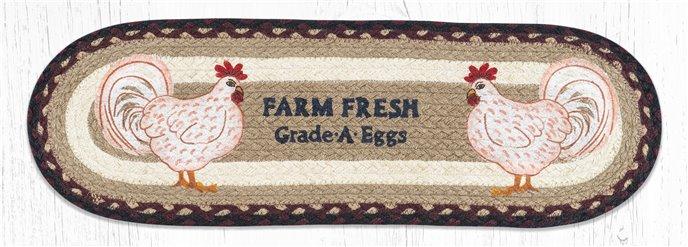 """Farmhouse Chicken Oval Braided Stair Tread 27""""x8.25"""" Thumbnail"""