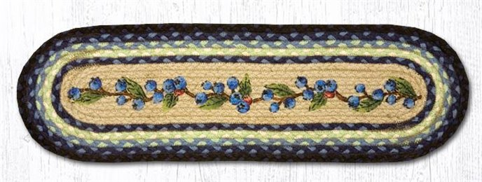 "Blueberry Vine Oval Braided Stair Tread 27""x8.25"" Thumbnail"
