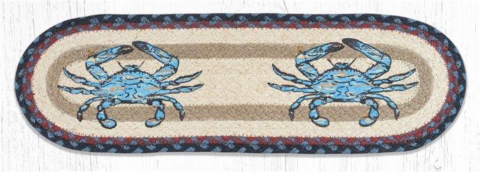"""Fresh Blue Crab Oval Braided Stair Tread 27""""x8.25"""" Thumbnail"""