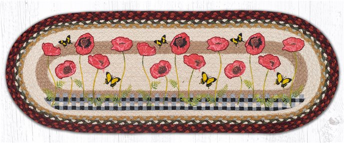 """Poppies with Black Check Oval Braided Table Runner 13""""x36"""" Thumbnail"""