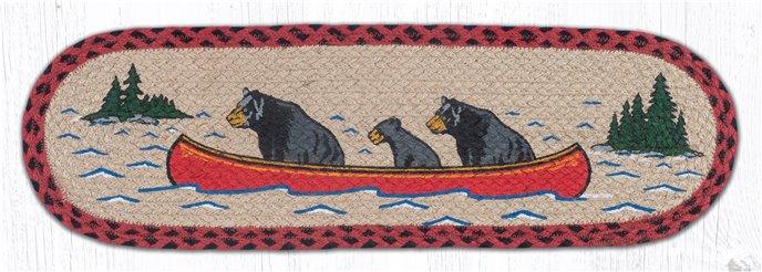 """Bears in Canoe Oval Braided Stair Tread 27""""x8.25"""" Thumbnail"""