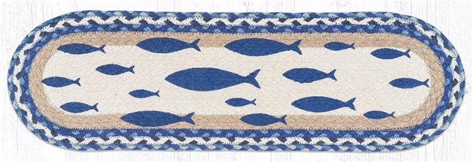 "Fish Oval Braided Stair Tread 27""x8.25"" Thumbnail"