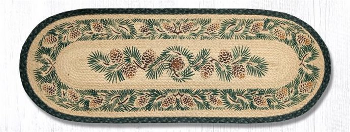 """Pinecone Oval Braided Table Runner 13""""x36"""" Thumbnail"""
