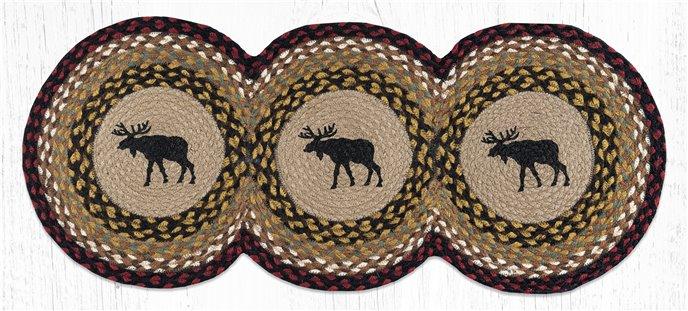 "Black Moose Printed Braided Tri Circle Runner 15""x36"" Thumbnail"