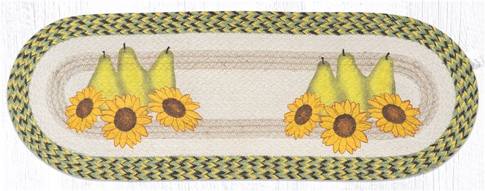 """Pears & Sunflowers Oval Braided Table Runner 13""""x36"""" Thumbnail"""