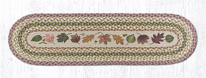 "Autumn Leaves Oval Braided Runner 13""x48"" Thumbnail"