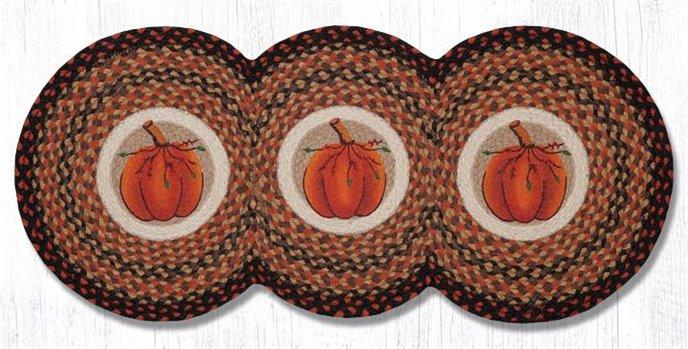 """Harvest Pumpkin Printed Braided Tri Circle Runner 15""""x36"""" Thumbnail"""