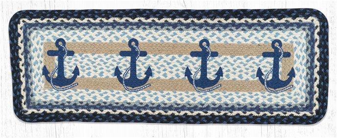 "Navy Anchor Rectangular Printed Braided Table Runner 13""x36"" Thumbnail"