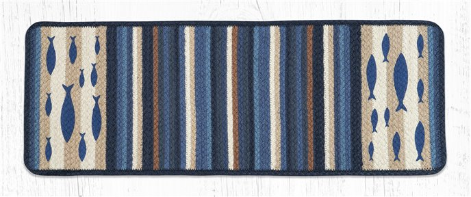 "Fish Rectangular Printed Braided Table Runner 13""x36"" Thumbnail"