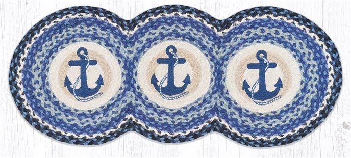 "Navy Anchor Printed Braided Tri Circle Runner 15""x36"" Thumbnail"