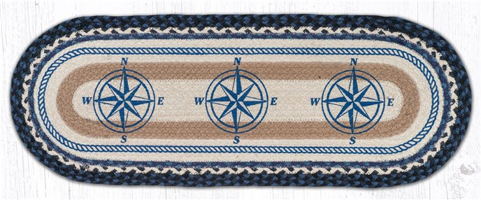 "Compass Oval Braided Table Runner 13""x36"" Thumbnail"