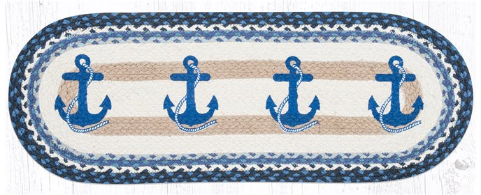 "Navy Anchor Oval Braided Table Runner 13""x36"" Thumbnail"