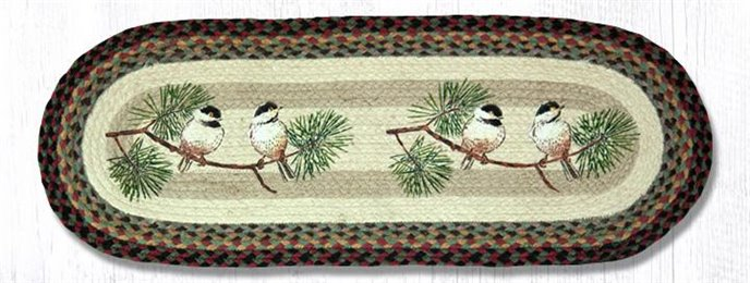 "Chickadee Oval Braided Table Runner 13""x36"" Thumbnail"