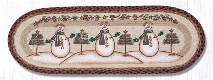 "Moon & Star Snowman Oval PBraided Table Runner 13""x36"" Thumbnail"
