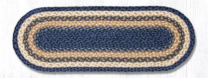 """Lt. Blue/Dk. Blue/Mustard Jute Braided Table Runner 13""""x36"""" Thumbnail"""