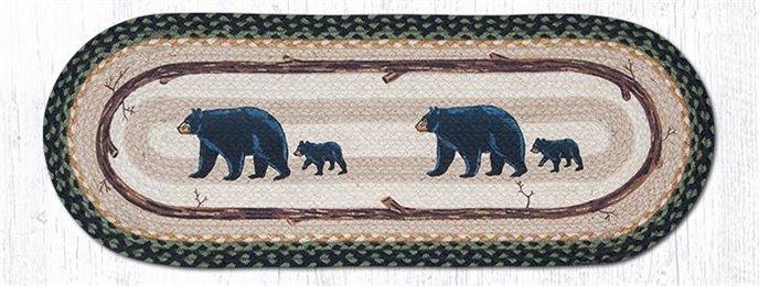 "Mama & Baby Bear Oval Braided Table Runner 13""x36"" Thumbnail"