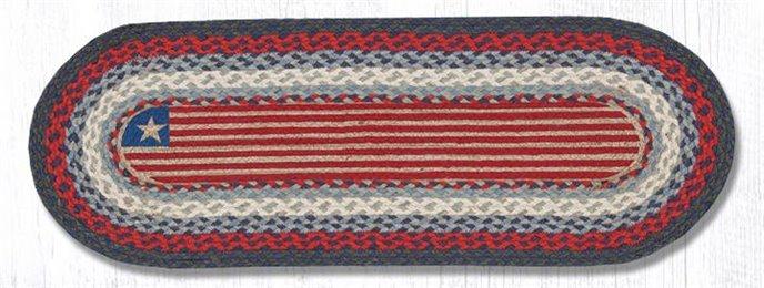 "Flag Oval Braided Table Runner 13""x36"" Thumbnail"