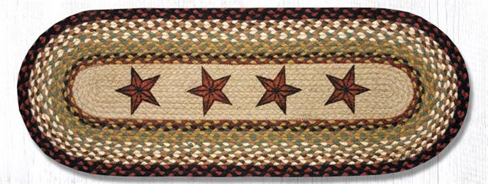 "Barn Stars Oval Braided Table Runner 13""x36"" Thumbnail"