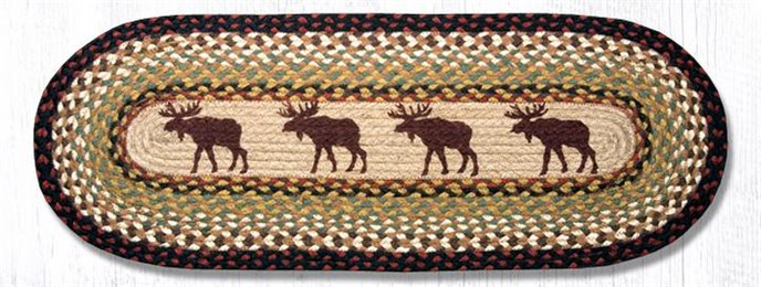 "Moose Oval Braided Table Runner 13""x36"" Thumbnail"