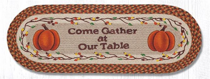 """Come Gather at Our Braided Table Oval Braided Table Runner 13""""x36"""" Thumbnail"""