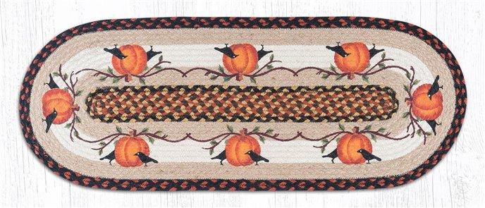 """Pumpkin Crow Oval Braided Table Runner 13""""x36"""" Thumbnail"""
