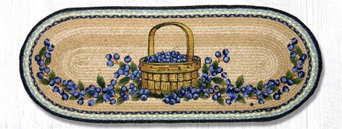 "Blueberry Basket Oval Braided Table Runner 13""x36"" Thumbnail"