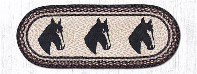 "Horse Portrait Oval Braided Table Runner 13""x36"" Thumbnail"