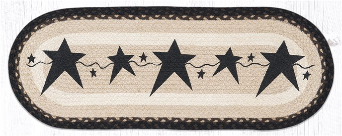 "Primitive Stars Black Oval Braided Table Runner 13""x36"" Thumbnail"