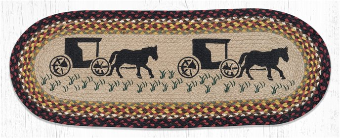 """Amish Buggy Oval Braided Table Runner 13""""x36"""" Thumbnail"""