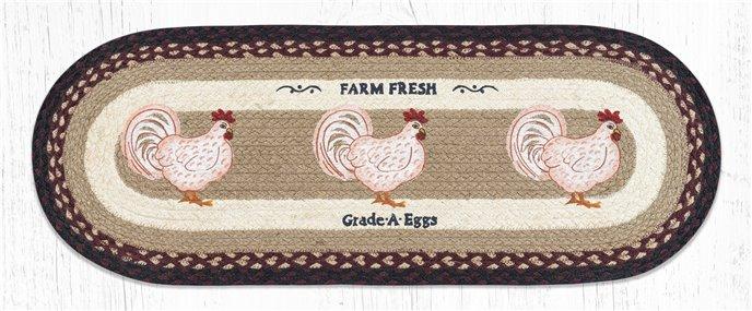 "Farmhouse Chicken Oval Braided Table Runner 13""x36"" Thumbnail"