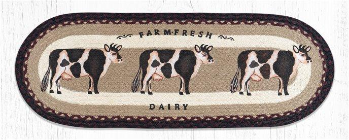 "Farmhouse Cow Oval Braided Table Runner 13""x36"" Thumbnail"
