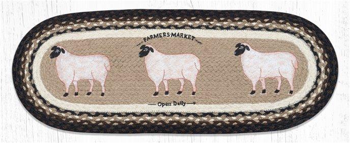 "Farmhouse Sheep Oval Braided Table Runner 13""x36"" Thumbnail"
